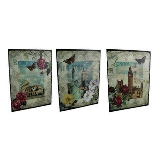 3 Pc. New York, London, Rome Decorative Glass Wall Hanging Set - Green