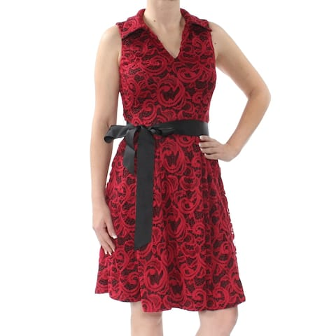 SIGNATURE Womens Red Lace Belted Sleeveless V Neck Knee Length Fit + Flare Cocktail Dress Petites Size: 4P