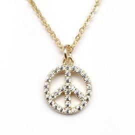 Julieta Jewelry Peace Sign Outline CZ Charm Necklace