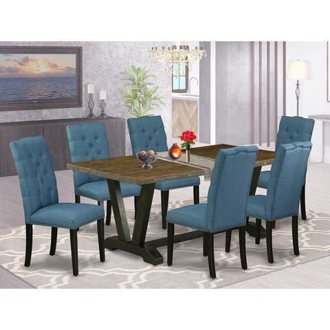 Modern Dining Set Consists of a Kitchen Table and Linen Fabric Kitchen Chairs (Chairs and Bench Option)