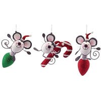 Pack of 6 Decorative Gray, White and Red Cheerful Mice Christmas Ornaments 9""