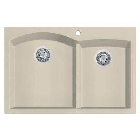 "ALFI brand AB3320DI-B Biscuit 33"" Double Bowl Drop in Granite Composite Kitchen Sink"