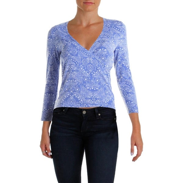 Energie Womens Pullover Top Paisley Elbow Sleeves - L