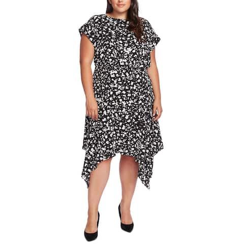 Vince Camuto Womens Sheath Dress White Black Size 20W Plus Printed