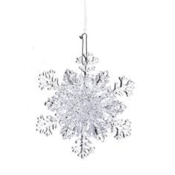 "4.5"" Ice Palace Frosted Branch Pattern Glittery Snowflake Christmas Ornament"