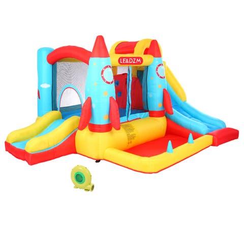 LEADZM Rocket Inflatable Castle Bounce House Jumping Castle Kids Bounce Slide Jump Surface with Air Blower - Rocket