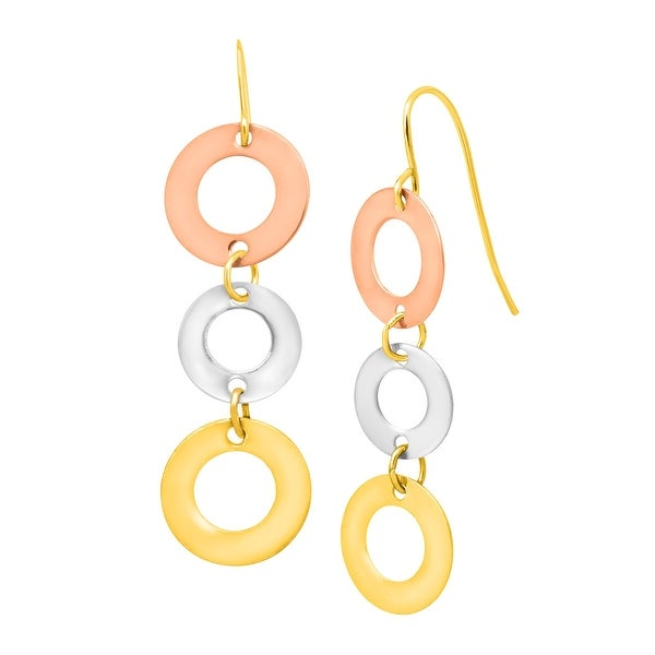 Just Gold Circle Drop Earrings in 10K Three-Tone Gold