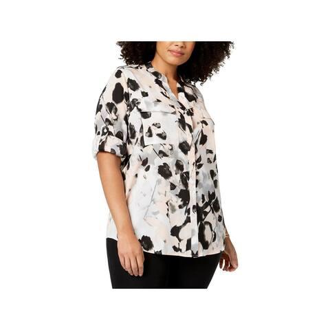 Calvin Klein Womens Plus Blouse Printed Button Front