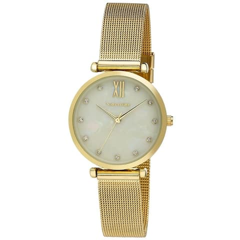 Vernier Mother of Pearl Dial Stone Marker Mesh Strap Watch
