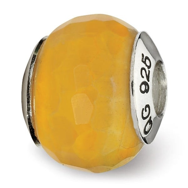 Sterling Silver Reflections Yellow Cracked Agate with Shell Stone Bead (4mm Diameter Hole)