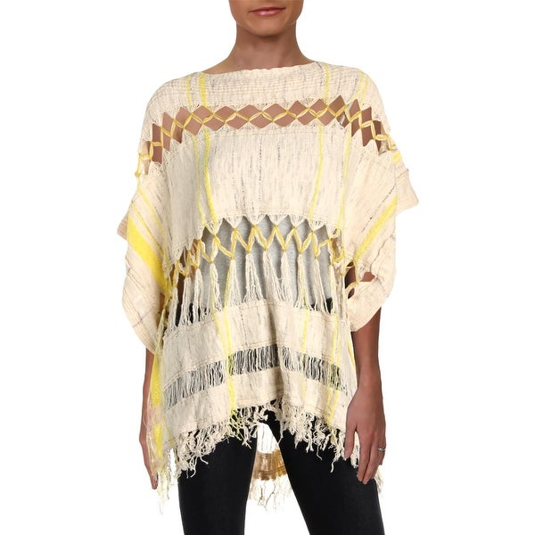 Free People Womens Pullover Sweater Cut-Out Striped