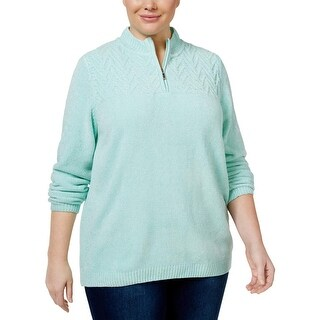 Alfred Dunner Womens Plus Sweater 1/4 Zip Cable Knit