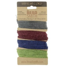 Beadsmith Natural Hemp Twine Bead Cord 1mm Four Jewel Color Variety 30 Feet Each