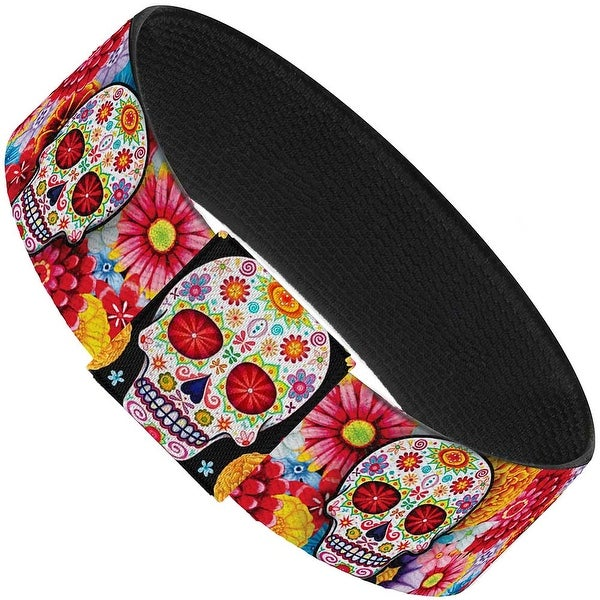 Sugar Skull Starburst White Multi Color Elastic Bracelet