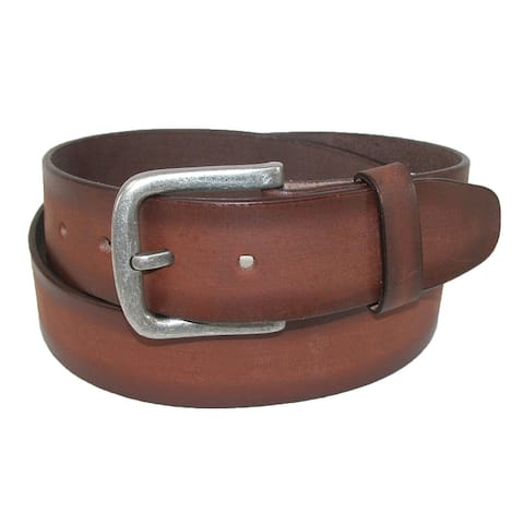 CTM® Men's Burnished Leather Bridle Belt with Removable Buckle