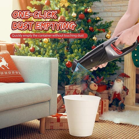 Homitt Handheld Vacuum Cordless, 6Kpa Powerful Suction Hand Vacuum Cleaner with One-Button Clean for Pet Hair, Home, and Car