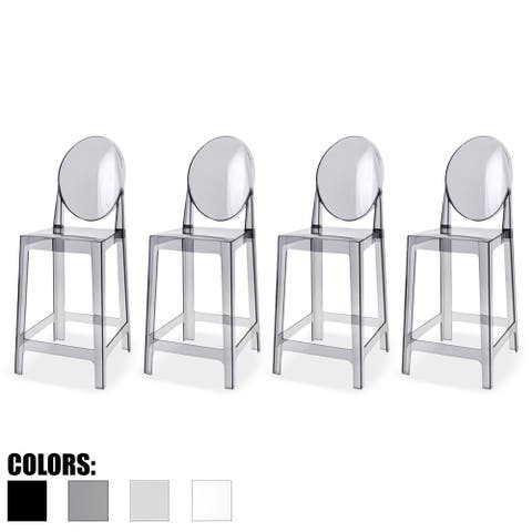 """2xhome Set of 4 Smoke Modern 25"""" Seat Bar Stool Counter Height with Backs Plastic Chairs For Home Restaurant Office"""