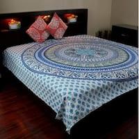 Elephant Mandala Tapestry Wall Hanging Cotton Tablecloth Bedspread Throw Beach Sheet Blue Twin Full