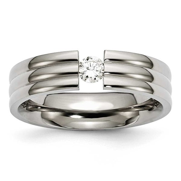 Chisel Polished Titanium and 1/4ct. Diamond Ring (6.0 mm)