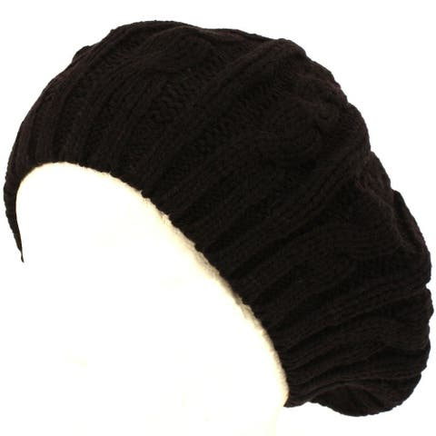 4d57bf214be Cable Fashion Knit Beret - Buy 1 Get 1 Free! (2 PACK)