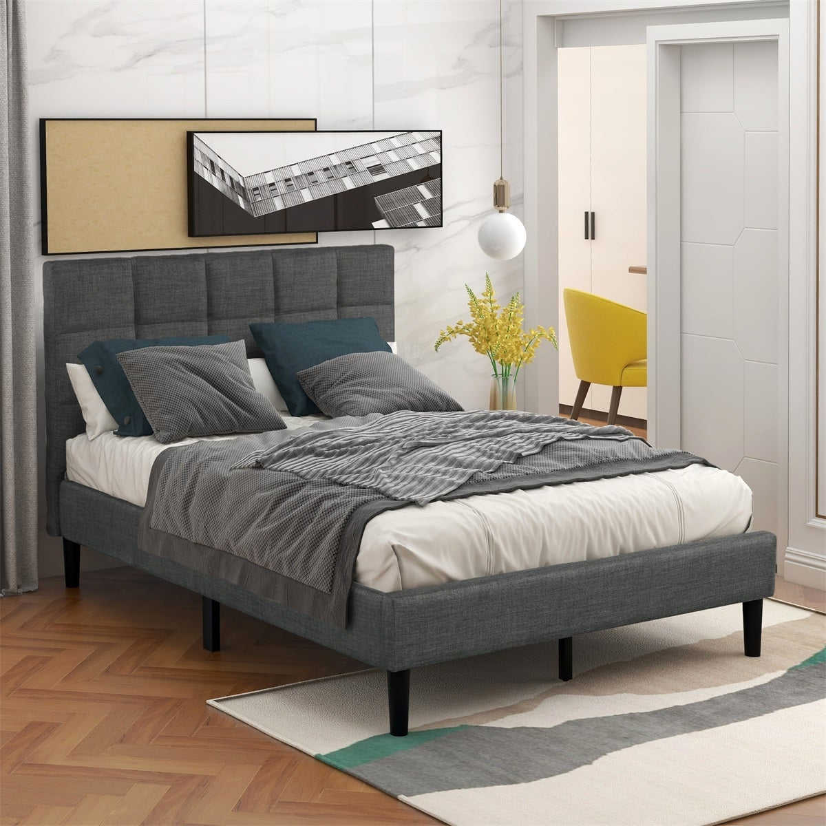 Picture of: Shop Black Friday Deals On Merax Twin Size Diamond Stitched Upholstered Platform Bed With Headboard No Box Spring Needed Overstock 31825474