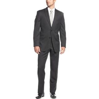 Tommy Hilfiger Charcoal Stripe Wool Suit 36 Short 36S Peak Lapel Pants 30 Waist