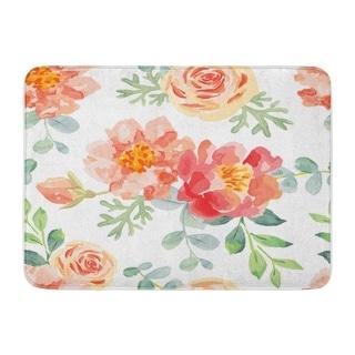 Overstockpink Roses And Peonies Green Leaves Watercolor Big Romantic Doormat Floor Rug Bath Mat 23 6x15 7 Inch Multi Multi Dailymail