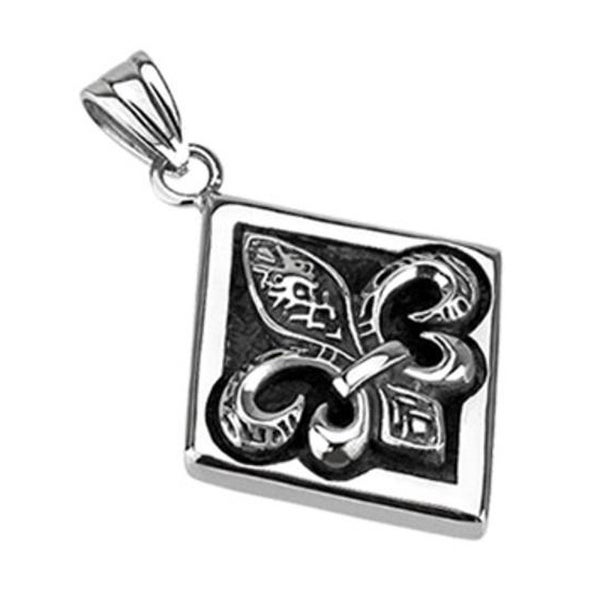 Stainless Steel Royal Fleur De Lis With Diamond Frame Pendant (33.5 mm Width)