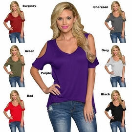 Womens Off Shoulder V-Neck Casual Blouse Jersey Tunic Tops