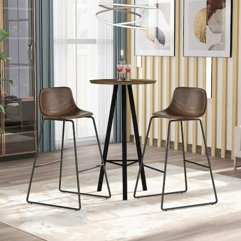 Low Back Footrest Vintage Leatherier Height Bar Stools Dining Chairs