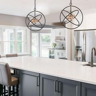 "Link to Modern 6-Light Adjustable Black Gold Globe Hanging Pendant Lights Candle Chandelier - 19.7"" L x 19.7"" W x 22"" H Similar Items in Pendant Lights"