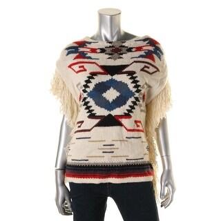 LRL Lauren Jeans Co. Womens KNit Fringe Poncho Sweater - M