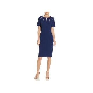 Adrianna Papell Womens Wear to Work Dress Spliced Neckline Knee-Length