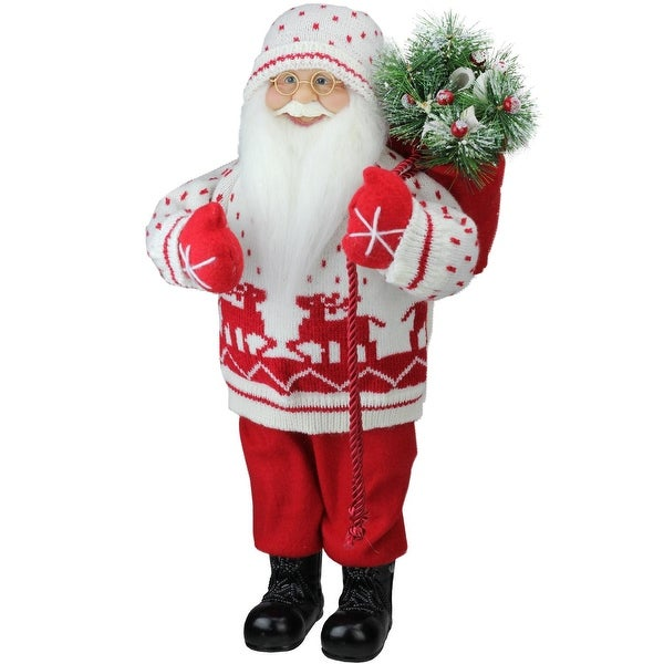 "18.5"" Santa in Knit Deer Sweater with Sack of Pine Figure Decoration - WHITE"
