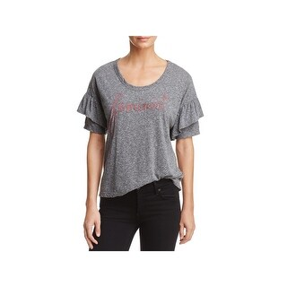Sundry Womens Feminist T-Shirt Heathered Embroidered