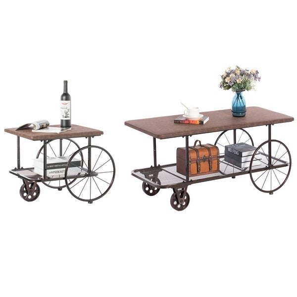 Industrial Wagon Style Coffee Table Rustic End Table Magazine Holder. Set of 2. Opens flyout.