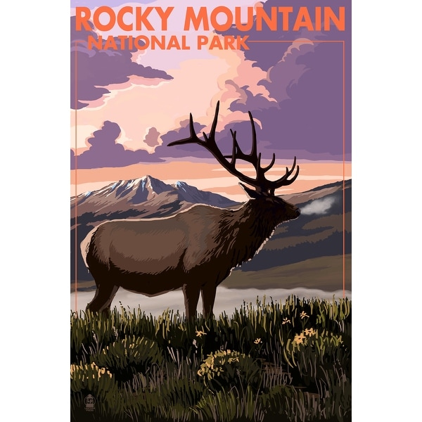 Rocky Mountain Park CO - Elk & Sunset - LP Artwork (Chef's Cotton/Poly Apron)