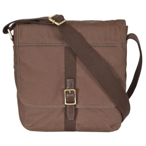 374cc1ffac Shop Fossil Men s Olive Waxed Canvas Evan City Messenger Bag - Free ...
