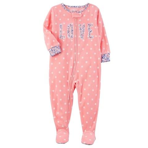 Carter's Little Girls' 1-Piece Love Fleece PJs, 5-Toddler - peach love