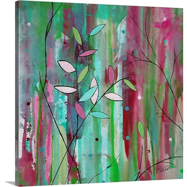 """Sponge Leaf Floral"" Canvas Wall Art"