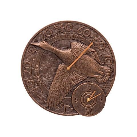 Whitehall Mallard Duck 14 Clock and Thermometer (Antique Copper) - Antique Copper
