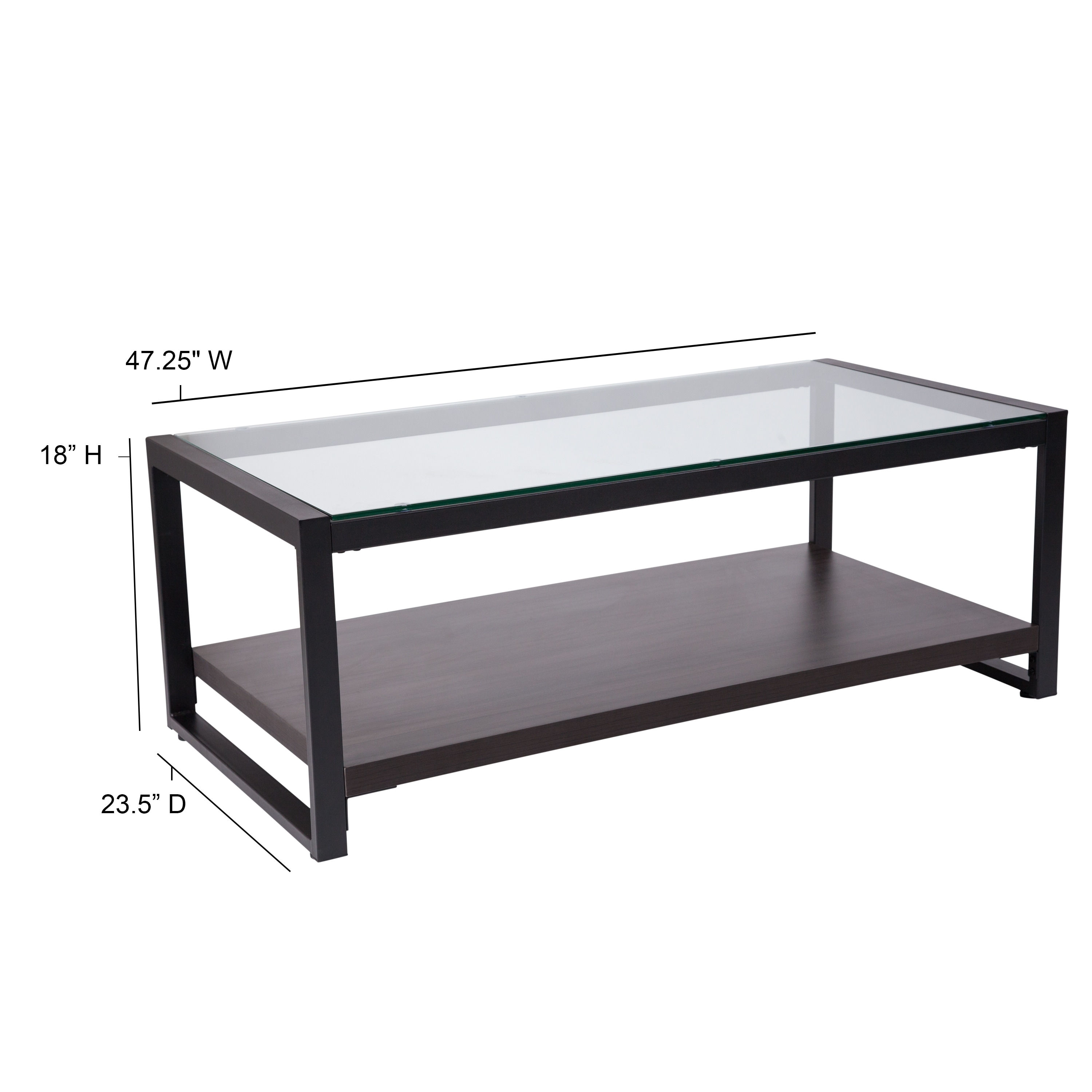 Picture of: Glass Coffee Table With Wood Grain Raised Shelf And Metal Frame Overstock 27976198
