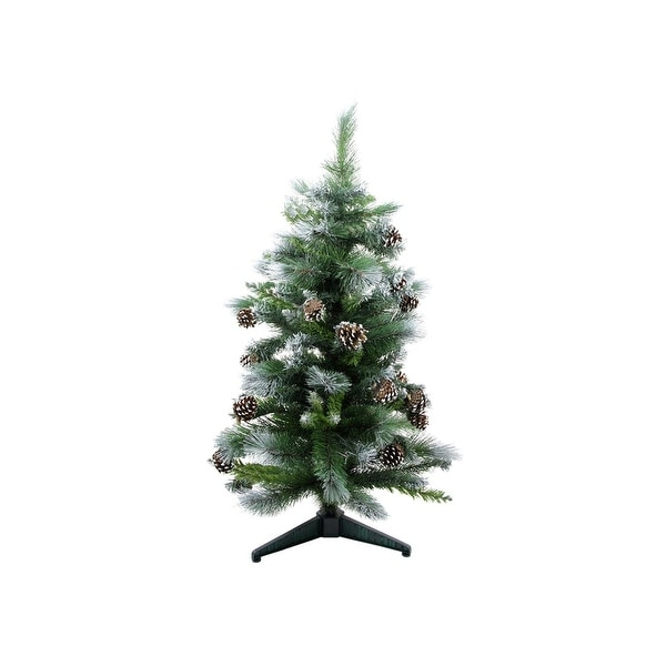 3' Frosted Glacier Pine Artificial Christmas Tree with Pine Cones - Unlit - green