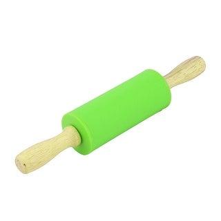 Home Bakery Silicone Roller Flour Dough Non-stick Rolling Pin Green 23cm Length