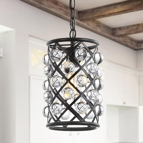 """Gabrielle 8"""" Metal/Crystal LED Pendant, Oil Rubbed Bronze / Clear by JONATHAN Y"""
