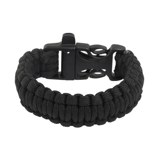 Unique Bargains Outdoor Activities Practical Whistle Plastic Buckle Black Survival Bracelet
