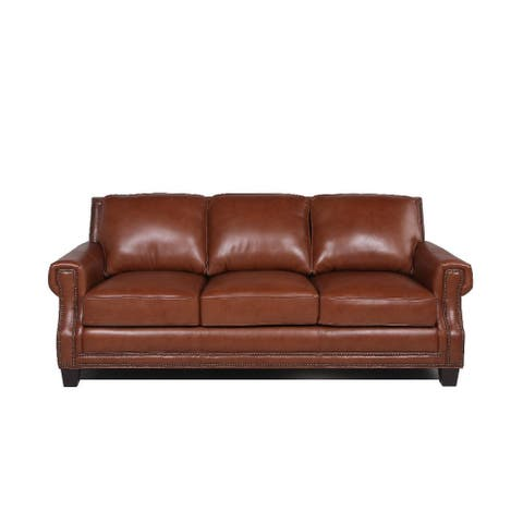 "Copper Grove Mong Cobblestone Leather Sofa - 88""Wx40""Dx37""H"