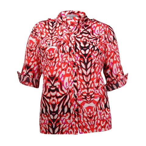 NY Collection Women's Faux Pocket Roll-Tab Printed Buttoned Shirt - Fuschia Black - XL