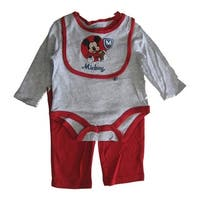 Disney Baby Boys Red Grey Mickey Mouse Bib Bodysuit 3 Pc Pant Set 0-9M