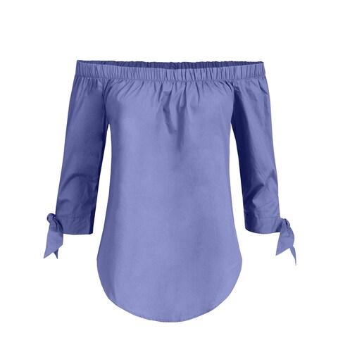 NE PEOPLE Womens Elegant Tied 3/4 Sleeve Open Shoulder Top [NEWT700]